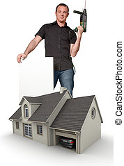 House improvement - Handyman holding a drill and a blank ...