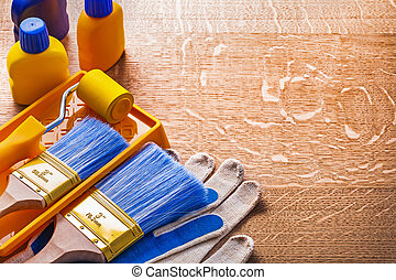 House improvement paint tools on wooden board construction conce