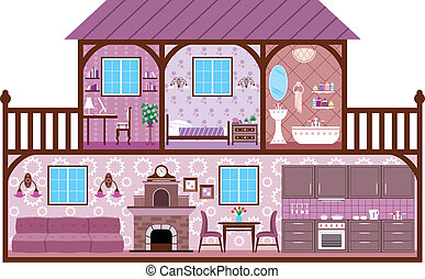 House in a cut - The image of rooms of a house with design...