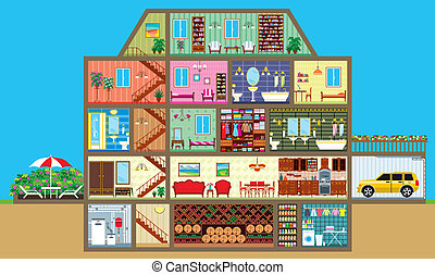 House in a cut - Vector illustration. It is created in the ...