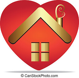 House in a heart logo vector