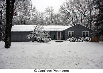 House in a snowy forest
