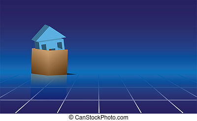 House in Box - House in a 3D cardboard box on reflective...