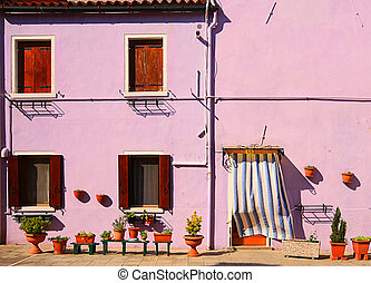 House in Burano, Venice lagoon, Italy