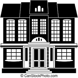 House in classical style - Black and white illustration of a...