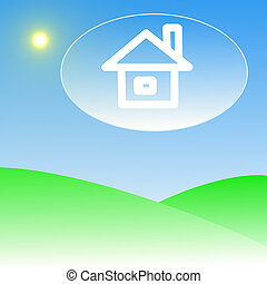 house in clouds on a background blue sky