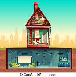 house in cross section, basement, attic