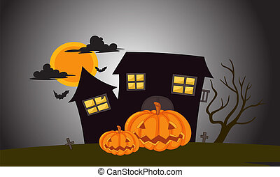 house in dark night