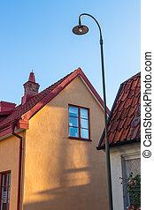 House in evening sunlight