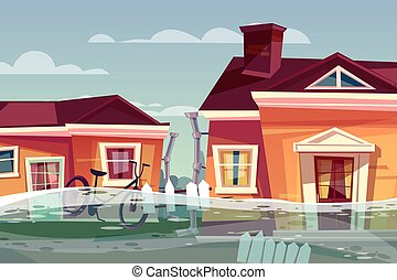 House in flood vector deluge water flow in street - Houses...