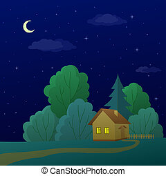 House in forest - summer landscape: country house in night...