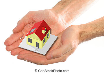 two hands holding a house as an insurance concept