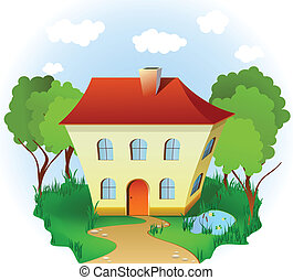 House in grass with road, trees and pond. Vector