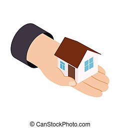 House in hand 3d isometric icon