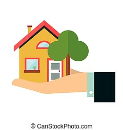 House in hand. Flat vector design icon