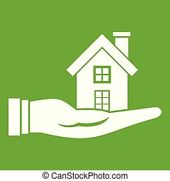 House in hand icon green