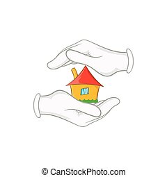 House in hands icon, cartoon style