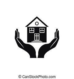 House in hands icon, simple style