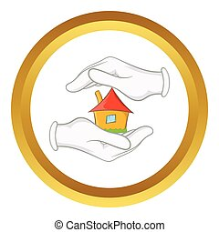 House in hands vector icon