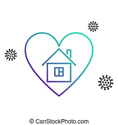 House in heart. Covid-19 quarantine. Coronavirus protection. Stay home concept. Vector illustration.