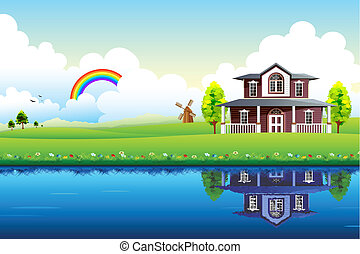 House in Heaven - illustration of house with beautiful...
