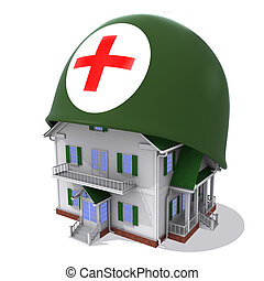 House in helmet a red cross