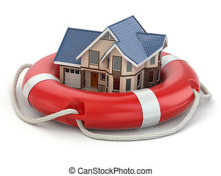 House in life belt. Conceptual image.