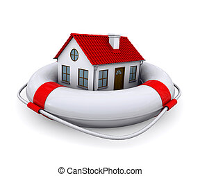 House in lifebuoy. Isolated on white background