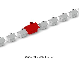 House in line - Rendered artwork with white background