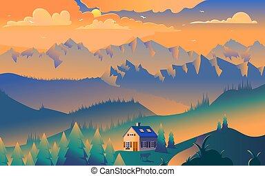 House in mountains minimalist vector illustration