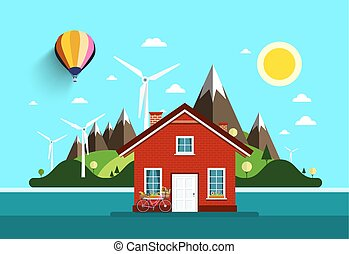 House in Nature. Vector Flat Design Landscape.