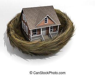 House in nest - Conceptual house in a bird nest - rendered...