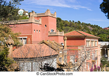 House in Park Guell, Barcelona, Spain