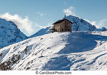 House in Passo Campolongo Valley near Skiing Resort of Arabba, Dolomites Alps, Italy