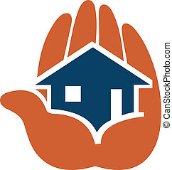 House in people hands for icon of safety concept or real...