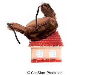 House in Russian hat on a white background
