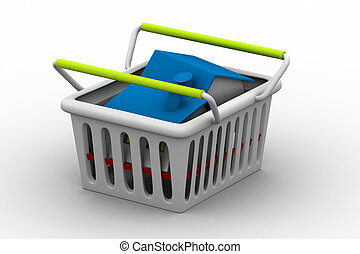 House in shopping cart on a white