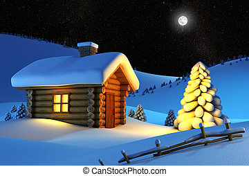 christmas house and fir-tree in snow-drift mountain landscape