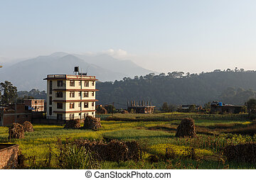 House in the background of mountains, Pharping