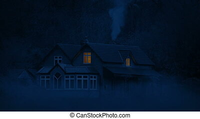 House In The Countryside At Night With Smoke
