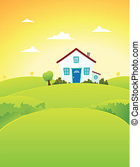 Illustration of a cartoon house inside beautiful meadows landscape in summer season