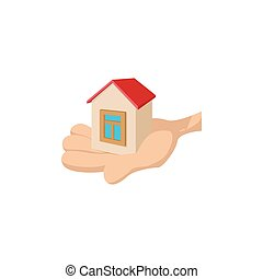 House in the hand cartoon