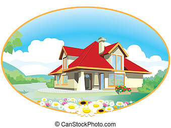 House in the meadow with flowers