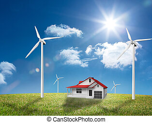 House in the middle of a turbine fi