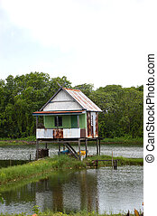 village panaroma on South Sulawesi - house in the middle of ...