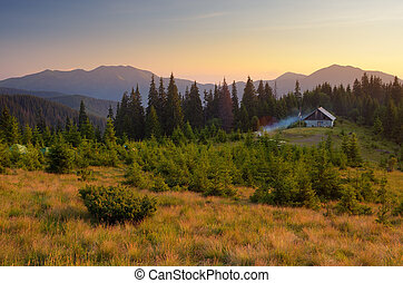 Evening landscape. The light of the setting sun. Wooden house in the mountains. Carpathians, Ukraine, Europe