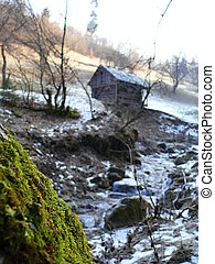 house in the mountains of the Carpathian Mountains in Ukraine