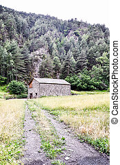 house in the mountains, photo as a background, digital image