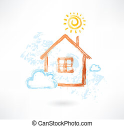 House in the sun and cloud grunge icon