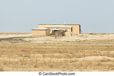house in the wilderness. Kazakhstan